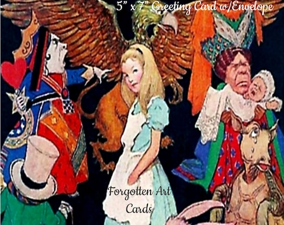 "Alice In Wonderland, 5""x7"" Greeting Card with Envelope,  Jessie Willcox Smith, Forgotten Art Cards, Pretty Girl Postcards"