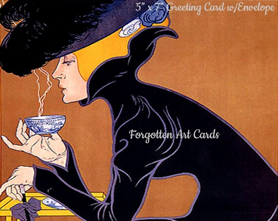 "Marco Polo Theesalon 5""x7"" Greeting Card + Envelope Tea Coffee Cafe Black Copper Forgotten Art CardPretty Girl Postcards"