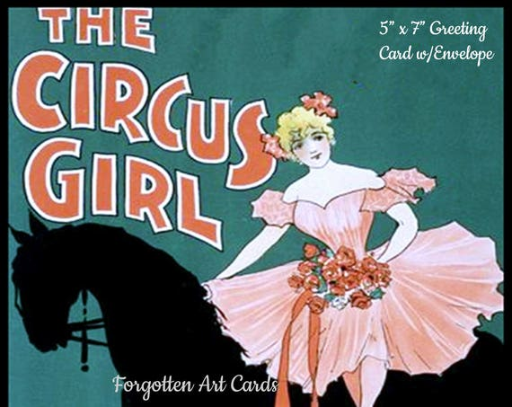 "THE CIRCUS GIRL - Phasing Out All Forgotten Art Cards!  5"" x 7"" Greeting Card with Envelope (Blank Inside)"