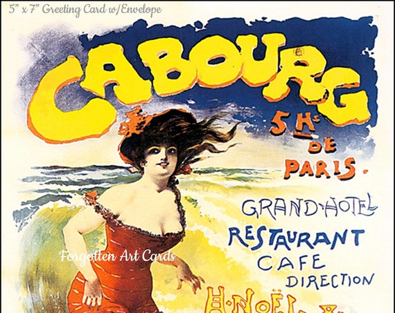 "CABOURG, France, 5"" x 7"" Greeting Card w/Envelope, Vintage Travel Poster Card, Art Nouveau, Forgotten Art Cards, Pretty Girl Postcards"