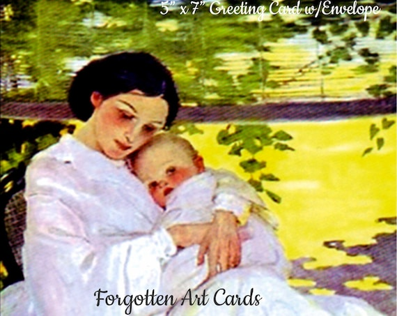 "Mother and Child,  5""x7"" Greeting Card w/Envelope, Jessie Willcox Smith, Forgotten Art Cards, Pretty Girl Postcards"