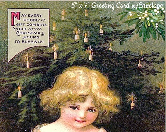 "Christmas Greetings,  5"" x 7"" Greeting Card with Envelope, Christmas Card, Young Girl, Christmas Tree, Pretty Girl Postcards"