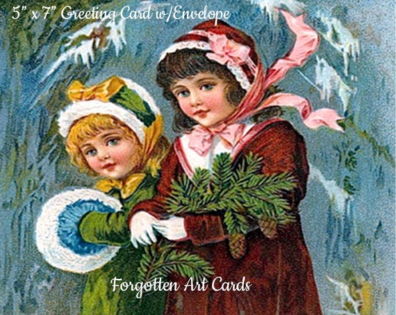 "A Christmas Message,  5"" x 7"" Greeting Card with Envelope, Christmas Card, 2 Victorian Girls, Fur Muff, Pretty Girl Postcards"