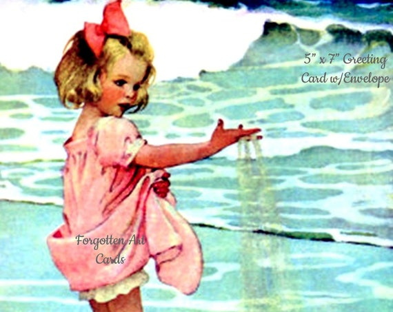 "Little Drops, 5""x7"" Greeting Card w/Envelope, Jessie Willcox Smith, Forgotten Art Cards, Pretty Girl Postcards, Pretty Girl, Blue, Pink"