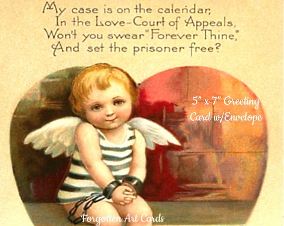 "Phasing Out ALL Forgotten Art Cards!  ""Prisoner of Love #2"" (Couldn't Prove An Alibi') 5"" x 7"" Greeting Card with Envelope (Blank Inside)"