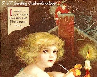 "VINTAGE CHRISTMAS CARD w/Envelope, ""I Think Of You In Kind Regards And Friendship True"" Ellen Clapsaddle Postcard Illustrator 1900s"