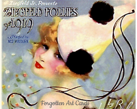 "Ziegfeld Follies 1919 I'm The Guy Who Guards The Harem And My Heart's In My Work Song Sheet 5""x7"" Greeting Card +Envelope Forgotten Art Card"