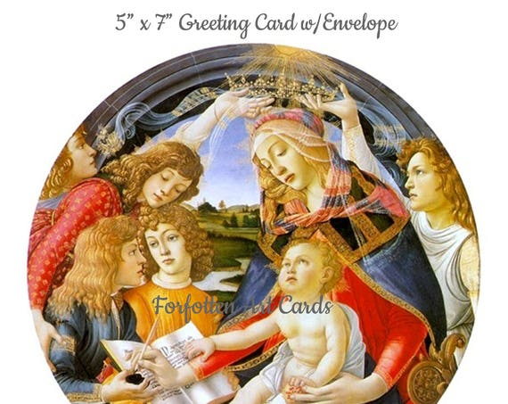 "Madonna of the Magnificat, Sandro Botticelli, 5"" x 7"" Christmas Card w/Envelope, Blank Inside, Religious Christmas Card, Madonna and Child"