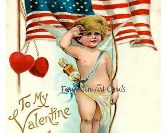 "VALENTINE PATRIOT CHERUB - Phasing Out All Forgotten Art Cards! 5"" x 7"" Greeting Card with Envelope  (Blank Inside)"