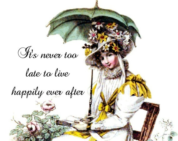 "It's Never Too Late To Live Happily Ever After - Phasing Out ALL Forgotten Art Cards! 5"" x 7"" Greeting Card with Envelope (Blank Inside)"