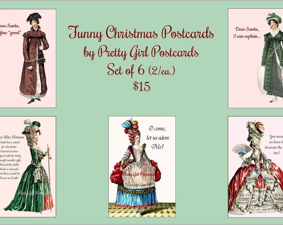 Marie Antoinette FUNNY CHRISTMAS POSTCARDS Set of 6 Happy Holiday Merry Christmas Cards To Send Friends and Family Pretty Girl Postcards