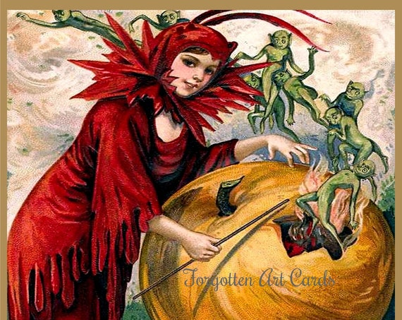 "Vintage Halloween Card ""The Halloween Witch's Wand"" 5x7 in. Blank Inside w/Envelope / Pretty Witch / Pumpkin / Gremlins / Elves /"