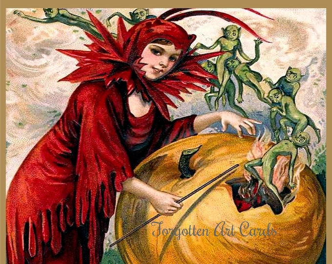 """Featured listing image: The HALLOWEEN WITCH'S WAND Greeting Card! """"One Touch Of The Wand And Elves Appear. But Have No Fear, They Come For Mischief And Fun..."""""""