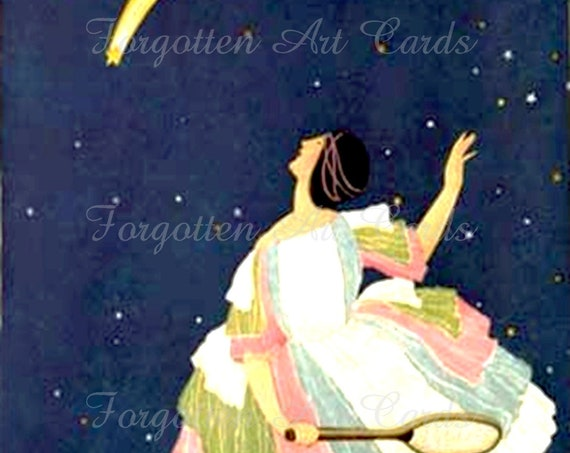 "Phasing Out All Forgotten Art Cards! ""PLAYING TENNIS with the STARS"" Art Deco Illustration - 5"" x 7"" Greeting Card w/Envelope (Blank Inside)"