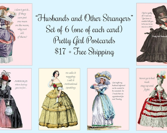 """ON SALE NOW! Pretty Girl Postcards Set of 6 """"Husbands and Other Strangers"""" 6 Cards/1 of Each Card About Husbands Funny Quotes Sassy Sayings"""