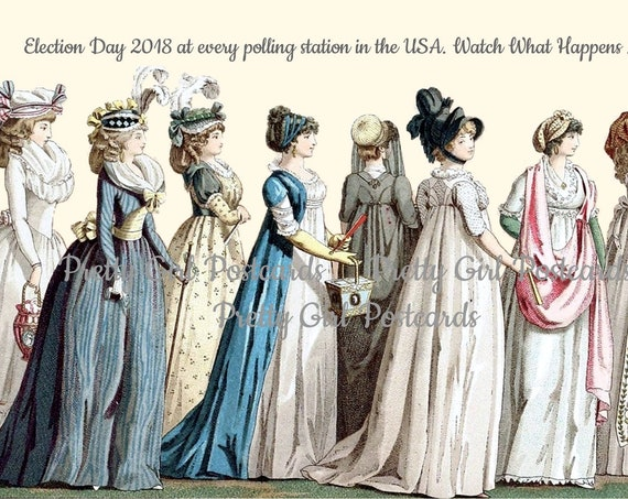 "Women Vote Political Post Card Greeting ""Election Day 2018 At Every Polling Station In The USA Watch What Happens Next"" Pretty Girl Postcard"