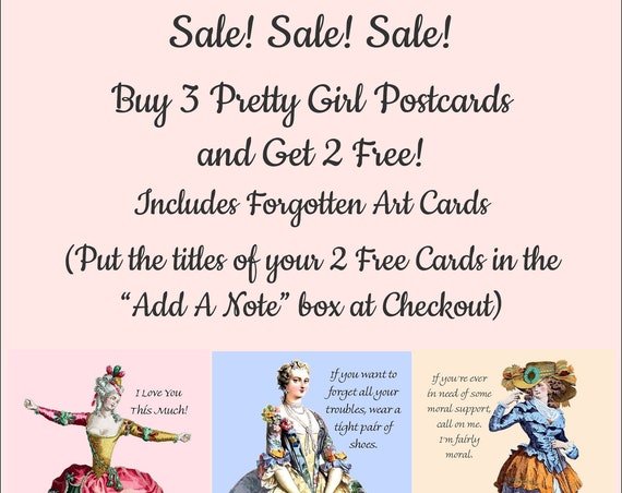 Buy 3 Pretty Girl Postcards and Get 2 Free! Forgotten Art Cards Included + Free Shipping!