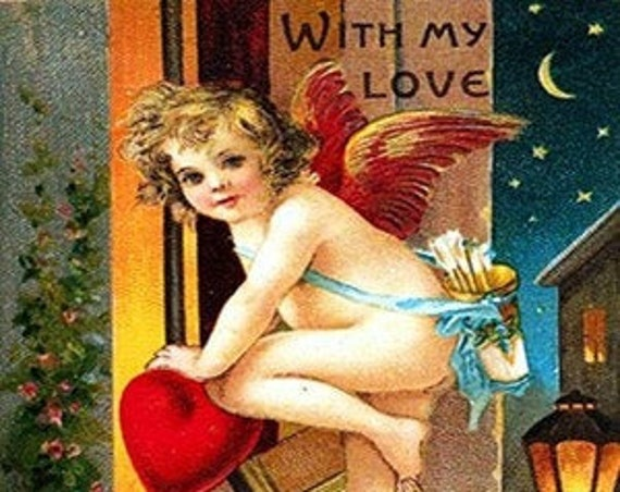 "Phasing Out ALL Forgotten Art Cards!  ""With My Love"" by Samuel Schmucher 5"" x 7"" Greeting Card with Envelope (Blank Inside)"