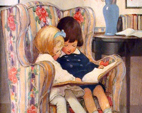 "LITTLE READERS by Jessie Willcox Smith - Phasing Out ALL Forgotten Art Cards! 5"" x 7"" Greeting Card with Envelope (Blank Inside)"