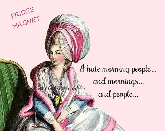 "NOT A MORNING PERSON! Funny Fridge Magnet! ""I Hate Morning People... And Mornings... And People..."""