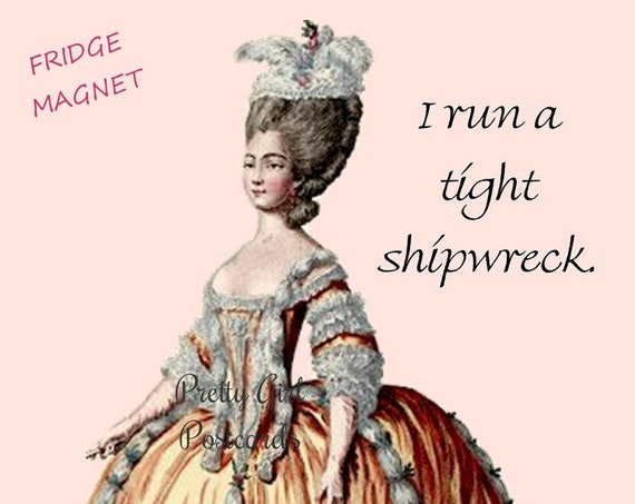 "SEAS THE DAY! Funny Fridge Magnet! ""I Run A Tight Shipwreck."" Boat, Dinghy, Yacht, Ship, Raft, Sailboat, Rowboat, Canoe, Houseboat"
