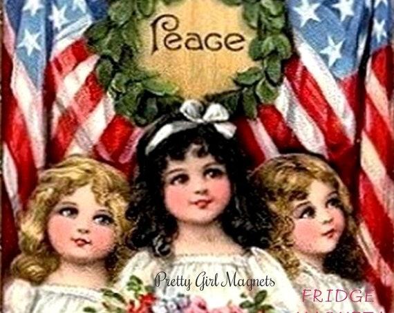 "PRETTY GIRL MAGNETS! 3"" x 3"" Fridge Magnet ""Peace"""