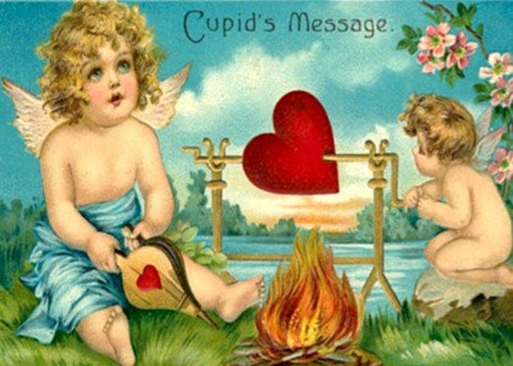 Roasting On The Spit Of Love Valentine Card