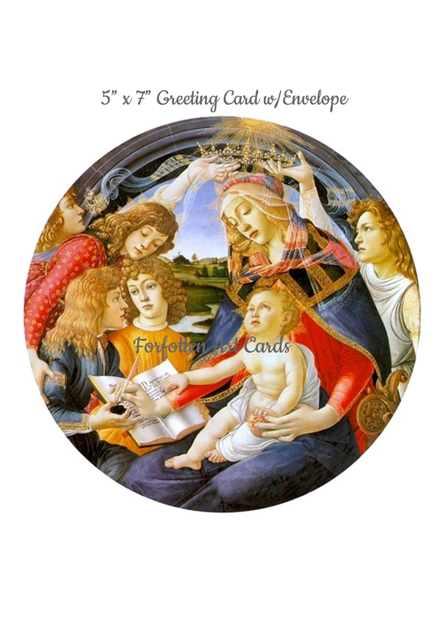 Madonna of the Magnificat, Sandro Botticelli, 5 x 7 Christmas Card w ...