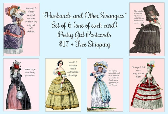 """Pretty Girl Postcards Set of 6 """"Husbands and Other Strangers"""" 6 Cards/1 of Each Card About Husbands Funny Quotes Sassy Sayings Witty Quotes"""