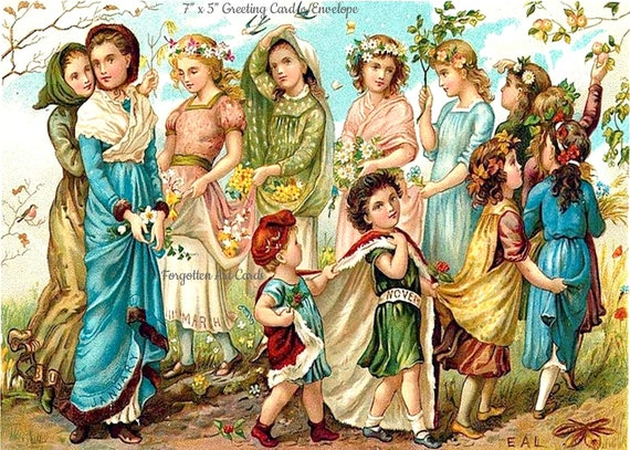 """A Happy Round Of Months, 5""""x7"""" Greeting Card with Envelope,  Lovely Children, Kate Greenaway Card, Forgotten Art Cards, Pretty Girl Postcard"""