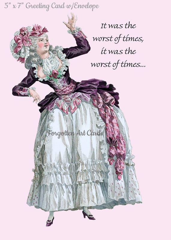 """It Was The Worst Of Times, It Was The Worst Of Times, 5""""x7"""" Greeting Card with Envelope, Marie Antoinette Card. Forgotten Art Card, Purple"""
