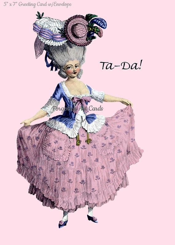 """Ta-Da! 5"""" x 7"""" Greeting Card w/Envelope, Pink Lady Card, Marie Antoinette Card, Forgotten Art Cards, Pretty Girl Postcards, Funny Card"""