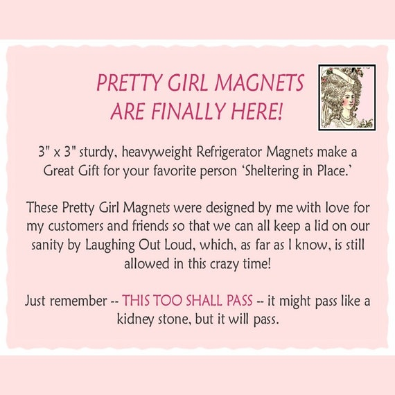 "Introducing PRETTY GIRL MAGNETS! 3"" x 3"" Fridge Magnets Featuring Your Favorite Pretty Girls! Do Not Buy This Listing! Advertisement Only!"
