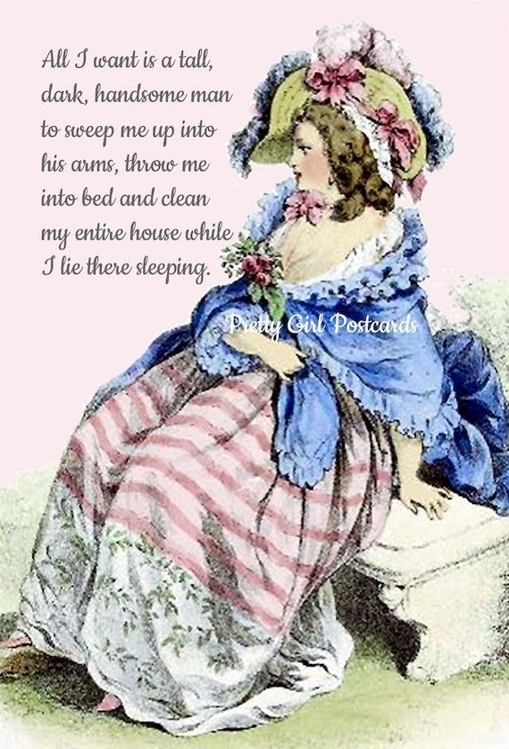 Marie Antoinette Card Witty Birthday Postcard Funny Quote Pretty Girl Postcards Clean House Handsome Man Hilarious