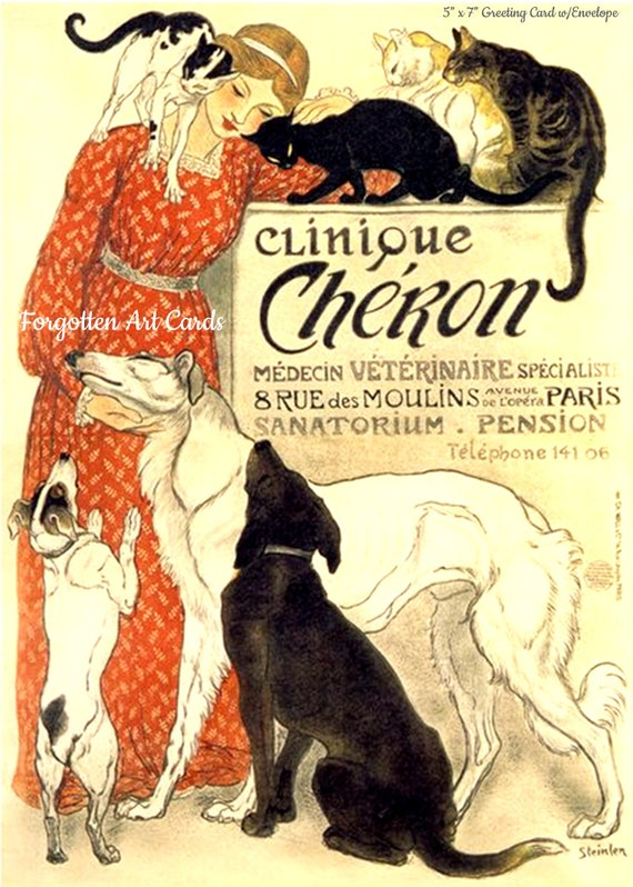 """Clinique Cheron Card 5""""x7"""" Greeting Card + Envelope Cats Dogs Red Dress Forgotten Art Card Pretty Girl Postcards"""