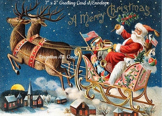"""Phasing Out ALL Forgotten Art Cards! """"Santa's Pink Sleigh!""""  5"""" x 7"""" Greeting Card with Envelope (Blank Inside) Get 'em B4 they're gone!"""