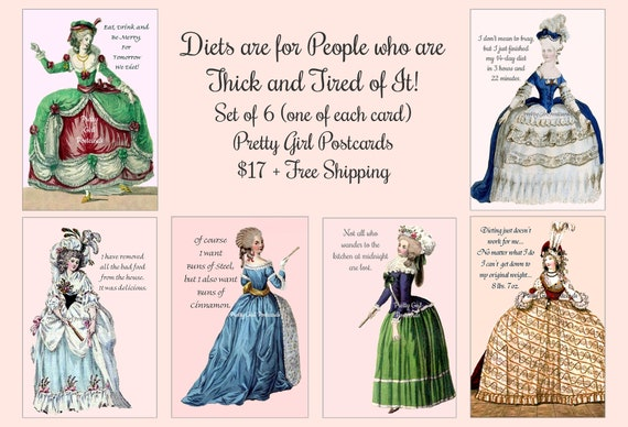 """ON SALE NOW! """"Diets Are For People Who Are Thick And Tired Of It!"""" Pretty Girl Postcards Set of 6 (one of each postcard) Funny Postcards"""