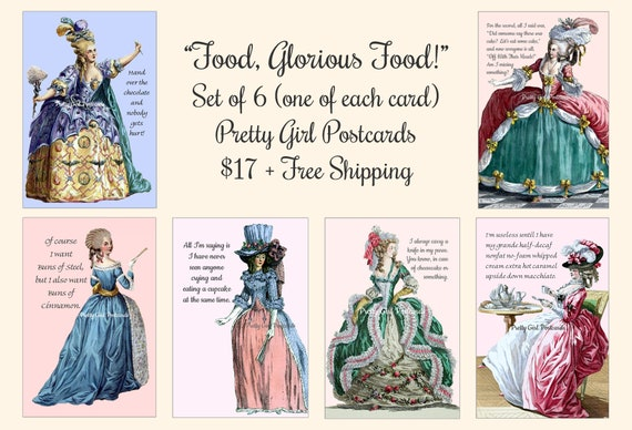 """ON SALE NOW! Pretty Girl Postcards Set """"Food, Glorious Food!"""" 6 Cards / 1 of Each Cards Funny Quotes Sassy Sayings Witty Quotes"""