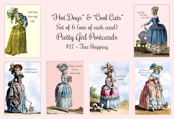 "Pretty Girl Postcards Set of 6 ""Hot Dogs and Cool Cats"" 6 Cards/1 of Each Card About Cats and Dogs Funny Quotes Sassy Sayings Witty Quotes"
