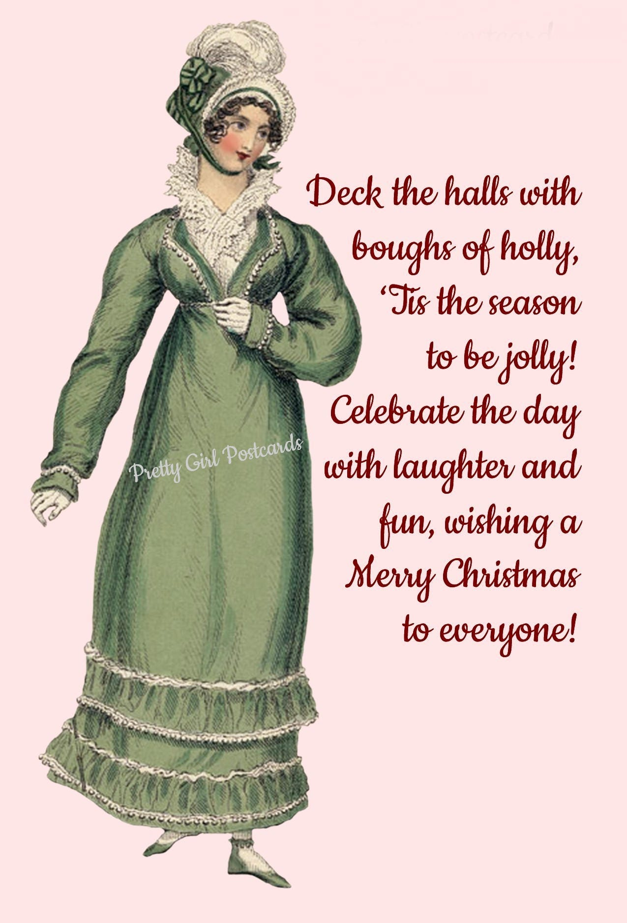 Christmas Card ~ Deck The Halls With Boughs Of Holly ~ Christmas ...