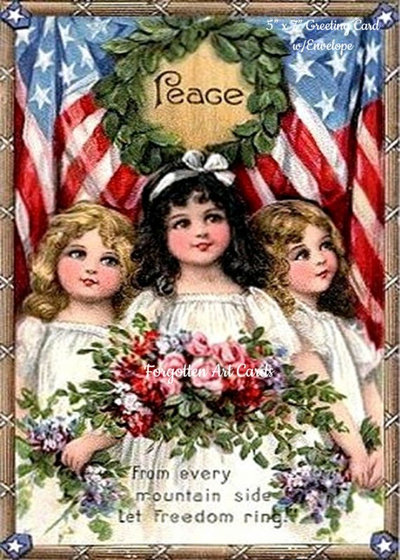 """3 Pretty Girls Declare PEACE, 5""""x7"""" Greeting Card, Envelope, From A Vintage Victorian Postcard, Forgotten Art Card, Pretty Girl Postcards"""