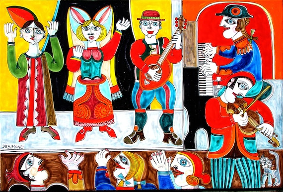 "DESIMONE ""All The World's A Stage"" Ceramic Panel / Artist Signed on Front & Back / Huge, Rare, One of a Kind / Actors, Musicians, Kitty Cat!"