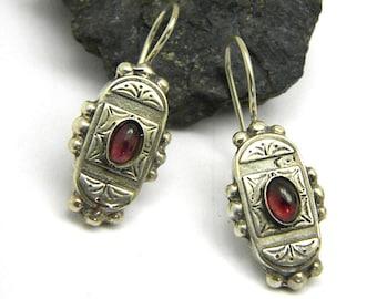 Garnet earrings, sterling silver dangle earrings, rustic antique style, gemstone earrings, garnet jewelry, January birthstone, granulation