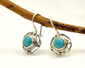 Turquoise earrings, sterling silver dangle earrings, antique style lace blue gemstone earrings, turquoise jewelry, December  birthstone,