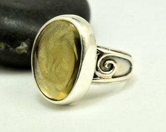 Lemon Quartz ring sterling silver large stone freeform tumbled lemon quartz artisan ring size 8.5, gift for her statement ring yellow stone