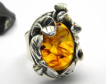 Statement ring Amber stone, leaves flowers setting sterling silver, hand made jewelry