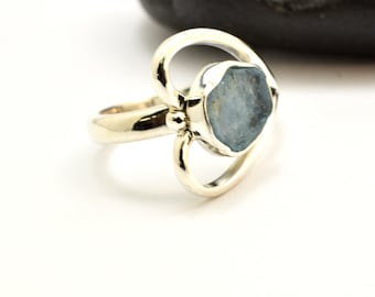 Heart aquamarine ring sterling silver blue raw stone outline heart ring  statement ring size 7 1/2 aquamarine jewelry , March birthstone