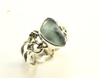 Aquamarine ring sterling silver rough stone handmade tumbled raw aquamarine ring cutout floral band, statement ring size 7, gift for her