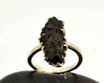 chanky ring lava volcanic black stone from Santorini sterling silver artisan ring mothers gift ooak handmade lava jewelry