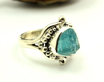 Abstract raw apatite ring sterling silver rough gemstone artisan ring size 9.5, apatite jewelry, statement ring, blue apatite, gift for her
